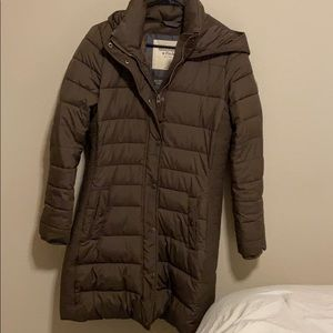 Women's Abercrombie and Fitch Long Brown Down Coat
